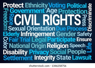 Civil Rights Word Cloud on Blue Background