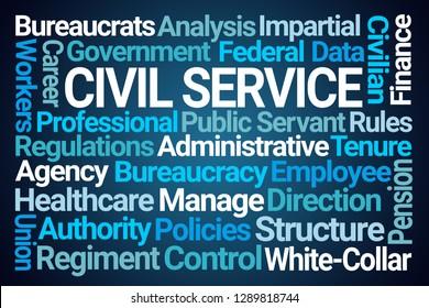 Civil Service Word Cloud on Blue Background
