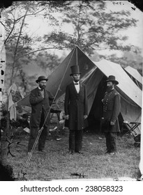 The Civil War, Antietam, Md. Allan Pinkerton, Pres. Abraham Lincoln, Major General John A. McClernand, September, photograph from glass negative, by Alexander Gardner, October 3, 1862.