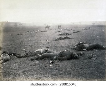The Civil War. The Battle of Gettysburg. Incidents of the war. A harvest of death, Gettysburg, PA. Dead Federal soldiers on battlefield. by Timothy H. O'Sullivan. 1863