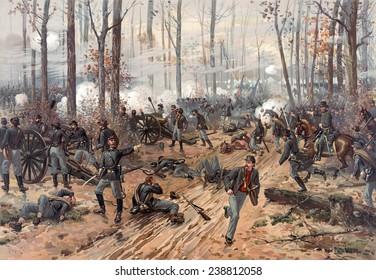 The Civil War. The battle of Shiloh. Chromolithograph by Thulstrup de Thure, 1888