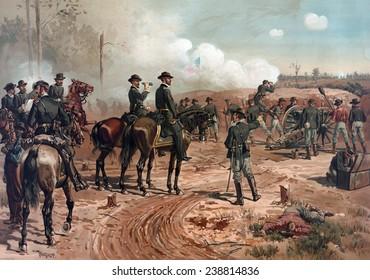 The Civil War. The battle Siege of Atlanta. Chromolithograph by Thulstrup de Thure, 1888