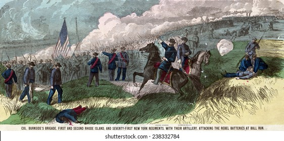 Civil War. Col. Burnside's brigade, First and Second Rhode Island, and Seventy-First New York Regiments, with their artillery, attacking the Rebel batteries at Bull Run. Handcolored lithograph, 1861