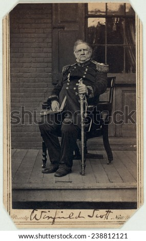 General Winfield Scott Carte De Visite Signed By Ca