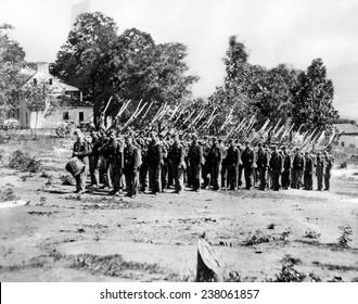 Civil War: Mathew B Brady photograph of Union soldiers c