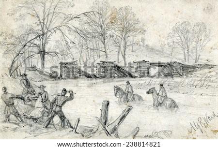 civil war soldiers on horseback crossing stock illustration