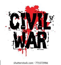 CIVIL WAR sticker. Authentic design graphic stamp. Original series
