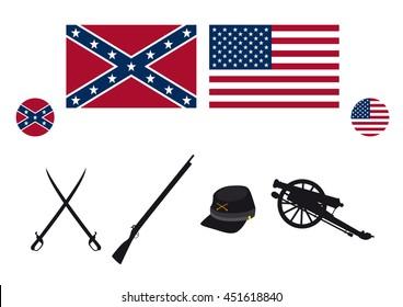 Civil War USA attributes. Symbols of the American Civil War