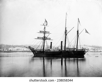 The Civil War, Washington, District of Columbia, Brazilian Steam Frigate at Navy Yard, President's visit, January 1863, from glass negative, by Alexander Gardner, October 3, 1862.
