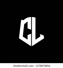 CL monogram letter logo ribbon with shield style isolated on black background