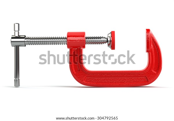 Clamp compression tool isolated on white. 3d