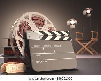 Clapboard concept of cinema.