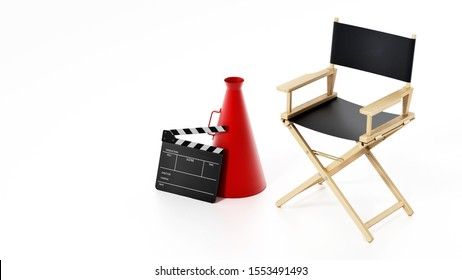 Clapboard and director's megaphone standing next to director's chair. 3D illustration.