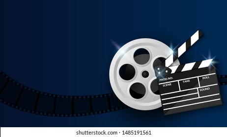 Clapper board and film reel on blue background, cinema background concept