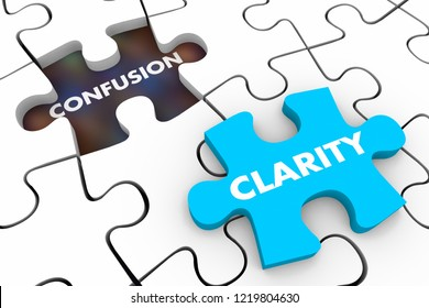 Clarity Vs Confusion Puzzle Pieces Words 3d Illustration