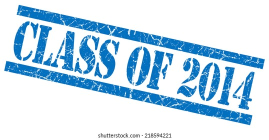 class of 2014 blue square grungy isolated rubber stamp