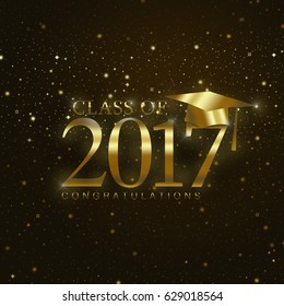 Class of 2017 with graduation cap in gold on a dark background with stars and sparkles