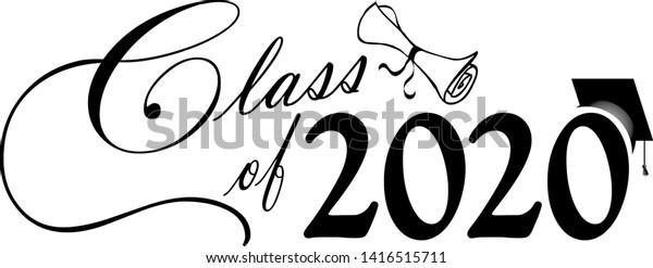 Graduation Banner 2020.Class 2020 Graduation Banner Stock Illustration 1416515711