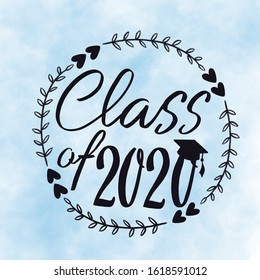 Class of 2020 with graduation cap and frame with hearts Hand drawn with frame with blue background