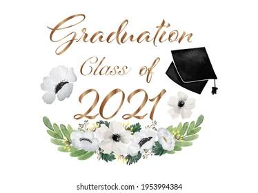 Klasse der 2021 Graduierung gratuliert Blume und Blätter Hintergrund, Vintage Aquarell Illustration Naturdekoration Elemente