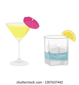 Classic alcohol cocktail drinks isolated on white. Raster illustration. Kamikaze and Gin Tonic cocktail