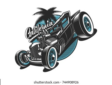Classic American hot-rod illustration on white background. All elements is on the separate layer. (RASTER VERSION)