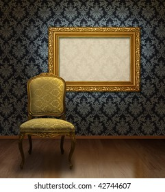 fcd22e34430 Classic antique chair and gold plated frame in room with blue damask  pattern wall