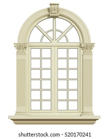 Classic arch window with corinthian column isolated on white - 3d rendering