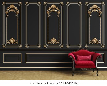 Classic armchair  in classic interior with copy space.Black walls with gilded mouldings. Floor parquet herringbone.Digital Illustration.3d rendering