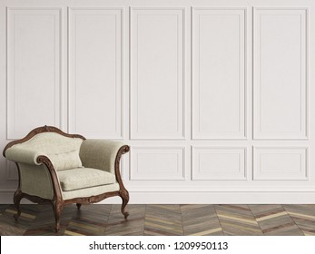 Classic armchair  in classic interior with copy space.Walls with mouldings. Floor parquet herringbone.Digital Illustration.3d rendering