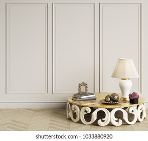 Classic art deco table  with lamp,orchid and books  is standing in empty classic interior.Walls with mouldings,floor oak herringbone. Digital illustration.3d rendering
