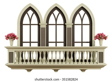 Classic balcony balustrade with triple lanced window isolated on white - 3d rendering