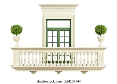 Classic balcony balustrade with window isolated on white - 3D Rendering