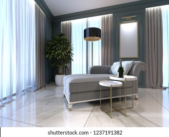Classic banquette with a floor lamp and a low table in the bedroom. 3D rendering.