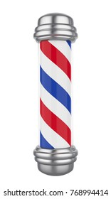 Classic Barber Shop Pole Isolated. 3D rendering
