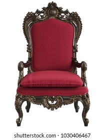 Classic  baroque armchair in blsck,gold and red isolated on white background.Digital Illustration.3d rendering