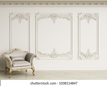 Classic baroque armchair in classic interior. Walls wth moldings and decorated cornice.Marble floor.Digital illustration.3d rendering