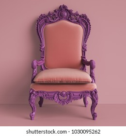 Classic baroque armchair in violet color on pink background.Digital Illustration.3d rendering