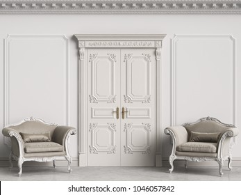 Classic baroque armchairs in classic interior. Walls with moldings and decorated cornice.Door with decor.Marble floor.Digital illustration.3d rendering