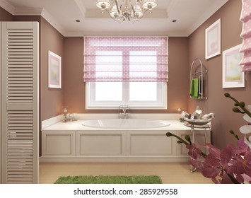 Classic bathroom for girl in pink with a large window. 3d render.
