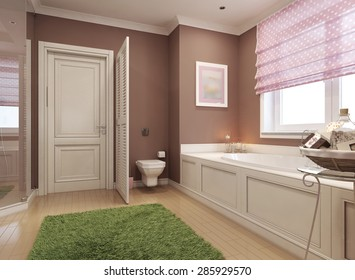 Classic Bathroom For Girls. 3d Render
