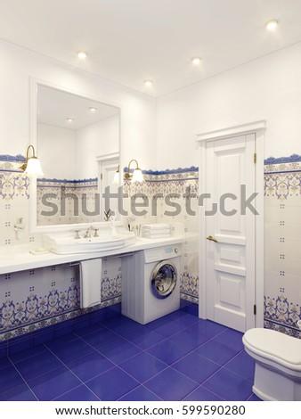 Classic Bathroom Interior Design Eastern Moroccan Stock Illustration