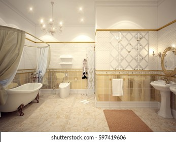 Classic bathroom interior design with gold and beige tiles and mosaics. 3d render