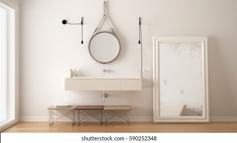 Classic bathroom, modern minimalistic interior design, 3d illustration