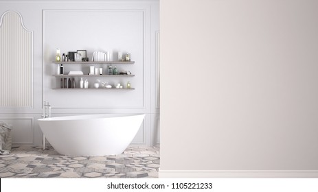 Classic bathroom on a foreground wall, interior design architecture concept with copy space, blank background, 3d illustration