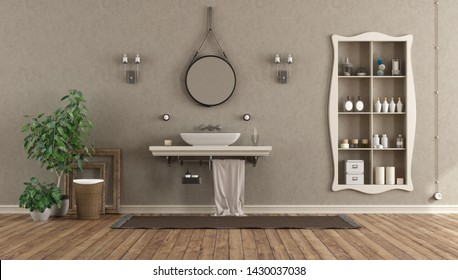 Classic bathroom with washbasin on shelf and niche with objects - 3d rendering