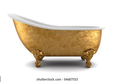 classic bathtub isolated on white background