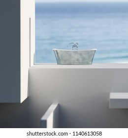 Classic bathtub with ocean background 3D render