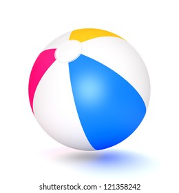 A classic beach ball isolated on white background. Computer generated image with clipping path.