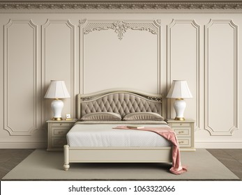Classic bedroom furniture in classic interior.Walls with mouldings,ornated cornice.Digital illustration.3d rendering